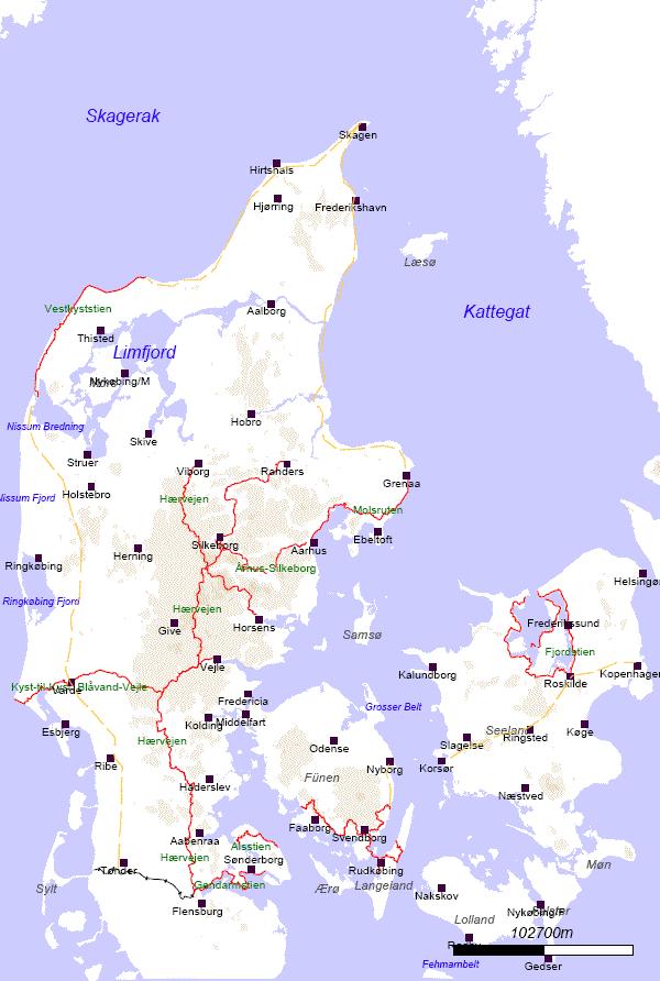 Dänemark Nordsee Karte.Wanderwegekarte Dänemark